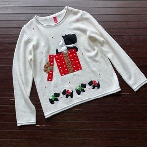 Sweaters - Scottie Dog present ugly Christmas cream sweater